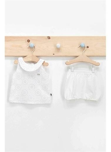 U.S. Polo Assn. Lisanslı Beyaz Kız Bebek Işlemeli Elbise Takım Beyaz